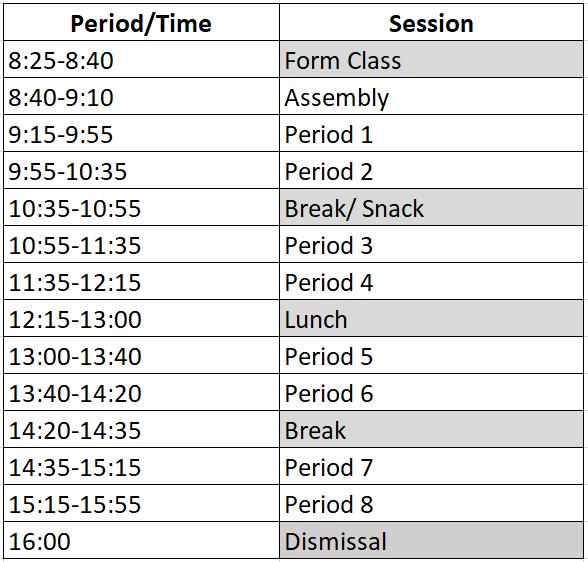 timetable ok